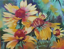 """Indian Blankets  Original pastel painting by Karen Vernon  11"""" x 14""""  picture image framed in a plein air frame frame  17"""" x 20"""" framed  Original pastel  painting by Karen Vernon on Ampersand's archival Pastelbord   The original pastel painting depicts Indian blanket wildflowers."""