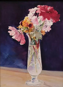 """Morning Pick  Original watercolor painting by Karen Vernon  14"""" x 11""""  picture image framed in a plein air frame frame  20"""" x 17"""" framed  Original watercolor  painting by Karen Vernon on Ampersand's archival Aquabord  The original pastel painting depicts Indian zinnias in a glass vase."""