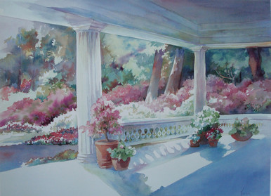 "Azalea Trail Offset print Original artwork by Karen Vernon 17"" x 23"""