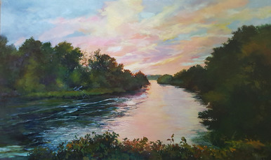 "Deep Water is an original oil painting by Karen Vernon.  The image is that of a tranquil river, flowing under a pastel sunset.  Bounded by rich trees, this painting portrays peace and is the perfect piece for over the mantel, sofa, buffet and king size bed, adding elegance and charm to any room.  The picture image is 36"" H x 60""W, painted on museum grade, archival Gessobord by Ampersand Art.  Framed in a gold wood frame the framed size is approximately 42""H x 66"" W  Ships in the USA only."