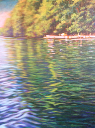 "Watersong is an original acrylic painting by nationally known artist, Ken Muenzenmayer.  Picture Image Size 24"" x 20"" The painting is predominantly blue and and green. Acrylic  Made in Texas USA Ships insure in USA only"