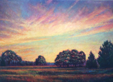 """Vernal Sunset by Ken Muenzenmayer. Original acrylic painting Picture image 48"""" x 72""""  Made in Texas, USA Ships in USA only  Ships unframed only (arrangements can be made to ship flat or unstretched and rolled. 979-249-4119) Ships insured"""