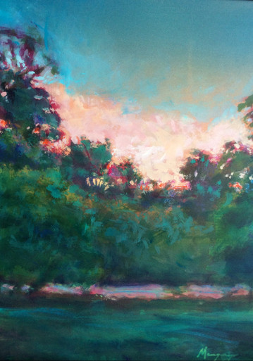 """Afternoon Blues and Greens  An original acrylic landscape painting by Ken Muenzenmayer  Picture Image Size:  14"""" x 11""""  Made in Texas USA  Ships in USA only  Ships insured"""