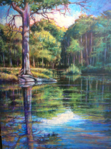 """Cypress Creek  An original acrylic landscape painting by Ken Muenzenmayer  Picture Image Size:  40"""" x 30""""  Made in Texas USA  Ships unframed  Ships in USA only  Ships insured"""