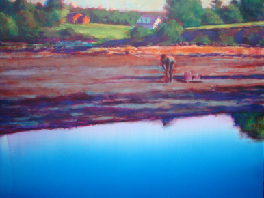 """Low Tide  An original acrylic landscape painting by Ken Muenzenmayer  Picture Image Size:  14"""" x 18""""  Made in Texas USA  Ships unframed  Ships in USA only  Ships insured"""