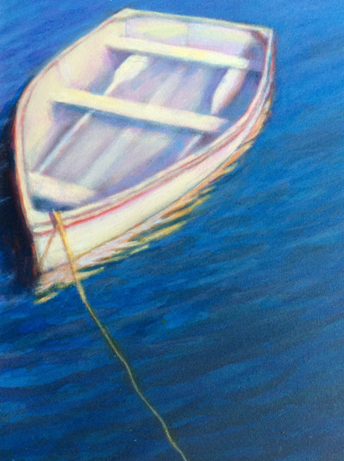 """Tethered  An original acrylic painting on Pastelbord by Ken Muenzenmayer  Picture Image Size: 10"""" x 8""""  Ships in USA only"""
