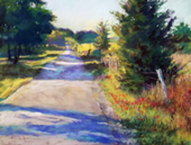 """Journey Into Spring II Original Pastel Painting by Karen Vernon  Picture Image Size:  11"""" x 14""""  Predominantly created in greens this painting expresses the beauty of light on a Spring Day.  Journey down the country road.  Journey Into Spring II is the second in a series of 3 paintings.  Ships in USA only"""