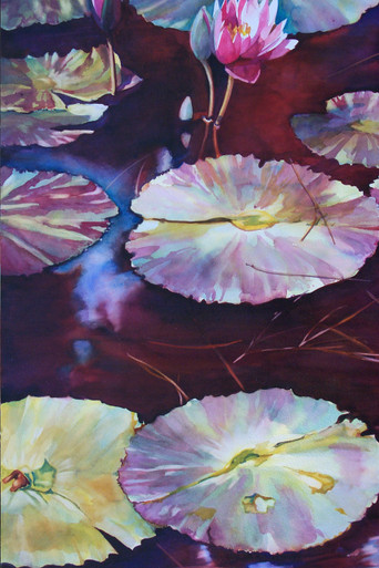 "Meditation  Original watercolor by Karen Vernon  Transparent watercolor on museum grade Aquabord by Ampersand Art Supply  Picture Image Size"" 30"" x 22""  Water lily painting with maroon water.  Ships unframed  Ships in USA only"