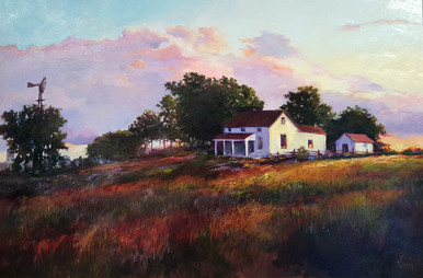 "A setting sun settles over this old homestead in the original oil painting by Karen Vernon The Homestead Picture image: 24"" x 36"" Oil Ships in the USA only"