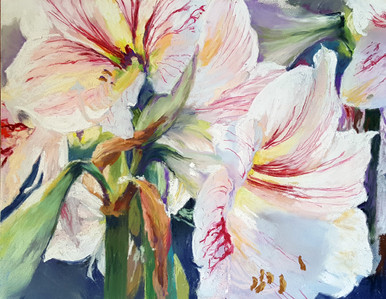 """Lilies From the Yard is an original pastel painting by internationally recognized artist, Karen Vernon  Pastel on Ampersand archival museum Pastelbord  Picture Image 11"""" x 14""""  Ships framed in a black plein air frame with ArtGlass  Made in Texas, USA  Ships in USA only"""