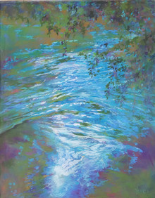 "Willow Springs is a painting of deep, rushing water after a hard rain.  It is an original pastel painting on Ampersand archival museum Pastelbord and created by Karen Vernon.  Picture Image Size 20"" x 16""  Ships in a black plein air frame under ArtGlass  Made in Texas, USA  Ships in USA only"