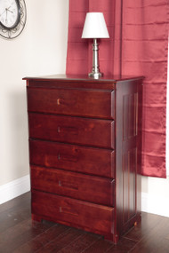 Solid Pine Five Drawer Chest in Merlot