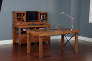 Complete Home Office Industrial Collection - Desk, Credenza Console, and Hutch.