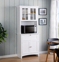 25504 White Buffet and Hutch with Glass Doors