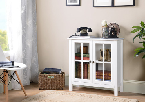 22600 White Glass Door Accent Cabinet