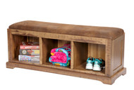 Solid Wood Hall Bench with Pinto Brown Microfiber Fabric Covered Cushioned Seat