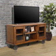 OS Home and Office Furniture Model 33260 Industrial Collection 60 inch wide TV Console with glass doors
