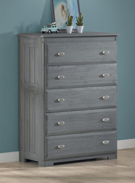 American Furniture Classics Solid Pine Five Drawer Chest in Charcoal
