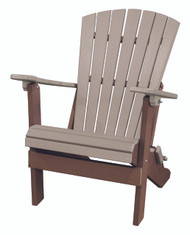OS Home Model 519WWTB Fan Back Folding Adirondack Chair Made in the USA- Weatherwood, Tudor Brown