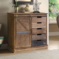 OS Home and Office Furniture Model 475134 Farm House, Antique Barn Door, Distressed Multi Color Wood Pantry with Five Drawers and Two Shelves