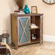 OS Home and Office Furniture Model 475138 Rustic, Weathered, Metal Corrugated Two Door Storage Cabinet with Three Shelves