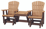 OS Home Model 515CTB-K Double Glider with Center Table in Cedar and Tudor Brown
