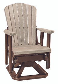 OS Home Model 510WWTB Fan Back Swivel Glider  in Weather Wood and Tudor Brown