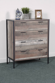 OS Home and Office Furniture Model 41104 Four Drawer Chest with Metal Frame and Legs