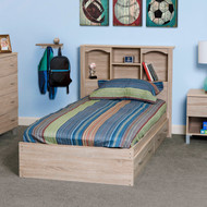 OS Home and Office Furniture Model 41109 Twin Sized Platform Bed with Bookcase Headboard and Two Underbed Drawers
