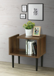 OS Home Model 41301 Mid Century Modern End Table with Wood Legs
