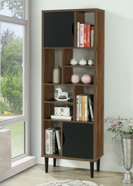 OS Home and Office Model 41302 Mid Century Modern Accent Bookcase with Two Doors and 10 Storage Areas on Wood Legs
