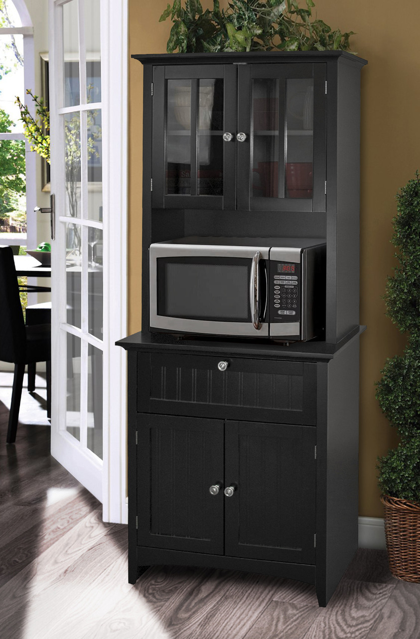 Os Home And Office Buffet And Hutch With Framed Glass Doors And Drawer In Black American Furniture Classics