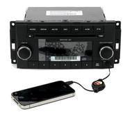 08-09 Chrysler Dodge Jeep AM FM Single CD Player Aux In Face RES P68021159AE
