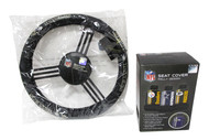 Fremont Die Baltimore Ravens Rally Seat Cover & Leather Steering Wheel Cover Set