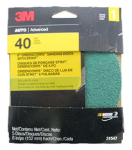 "3M Greencorps Sanding Discs With Stikit Stage 1 6"" 40 Grit Disc Pack Of 5 31547"