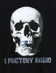 1 Factory Radio Bluetooth Skull T-Shirt Black Fruit of the Loom 100% Cotton