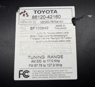 2006-08 Toyota RAV4 AM FM Radio mp3 CD Player Part Number 86120-42160 Face 11811