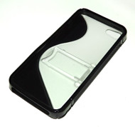 Black & Clear Rubberized iPhone 5 Case w Kickstand Stand Prop for Media Viewing