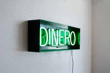 "SOLD - Neon ""Dinero"" Sign, Repurposed in Steel Frame"