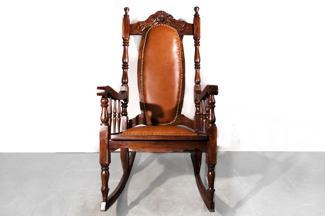 Fabulous Sold Victorian Era Oak Rocking Chair With Leather 1890S Machost Co Dining Chair Design Ideas Machostcouk