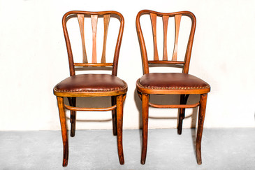 SOLD - Pair of Rare Thonet Bistro Chairs with Leather Seats, circa 1900