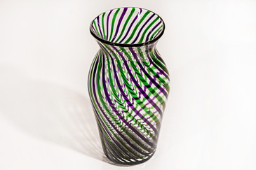 SOLD - Delicate Green and Purple Ribbon Swirl Glass Vase, Signed