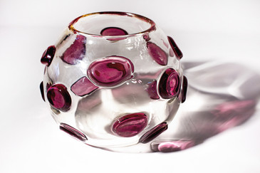 "SOLD - Unique Murano Style ""Polka Dot"" Glass Bowl, circa 1960s"