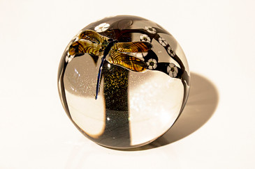 "SOLD - Limited Edition Zellique ""Dragonfly"" Glass Paperweight"