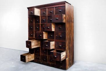SOLD - Large Antique Multi-Drawer Storage Cabinet. C.1890s