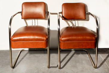 SOLD - Pair of 1930s Chromcraft Cantilever Armchairs in Leather