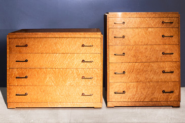 SOLD - Set of two Art Deco Birdseye Maple Dressers, c. 1935