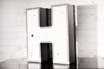"SOLD - JUMBO VINTAGE CHANNEL LETTER ""H"" IN WHITE"
