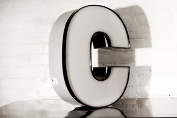 "SOLD - JUMBO VINTAGE CHANNEL LETTER ""C"" IN WHITE"