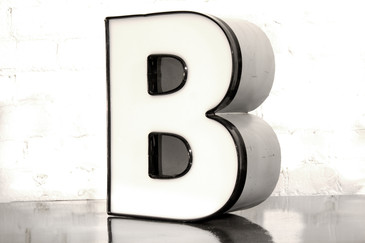 "SOLD - VINTAGE CHANNEL LETTER ""B"" IN WHITE"